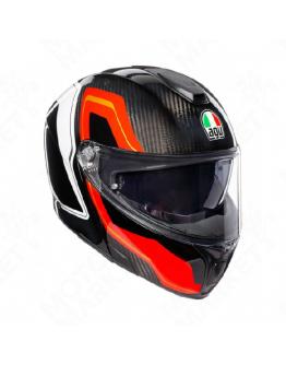 AGV SPORTMODULAR 後掀式全罩安全帽 碳纖維 #SHARP CARBON 紅/白