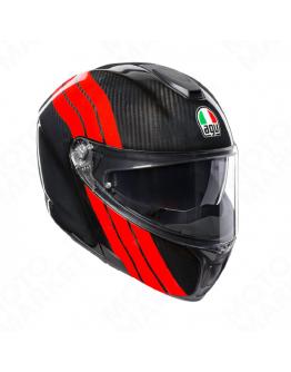 AGV SPORTMODULAR 後掀式全罩安全帽 碳纖維 #STRPIPES CARBON 紅